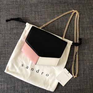 NWT Sandro small Lou leather crossbody pink/blk/wh